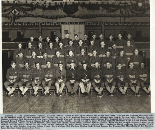 110th Quartermaster Regiment, Company A Nebraska National Guard is made up of Holdrege and Phelps county men. They are now in service with other units of the National Guard at Camp Robinson Ark. Courtesy of the Winquest-Johnson Collection